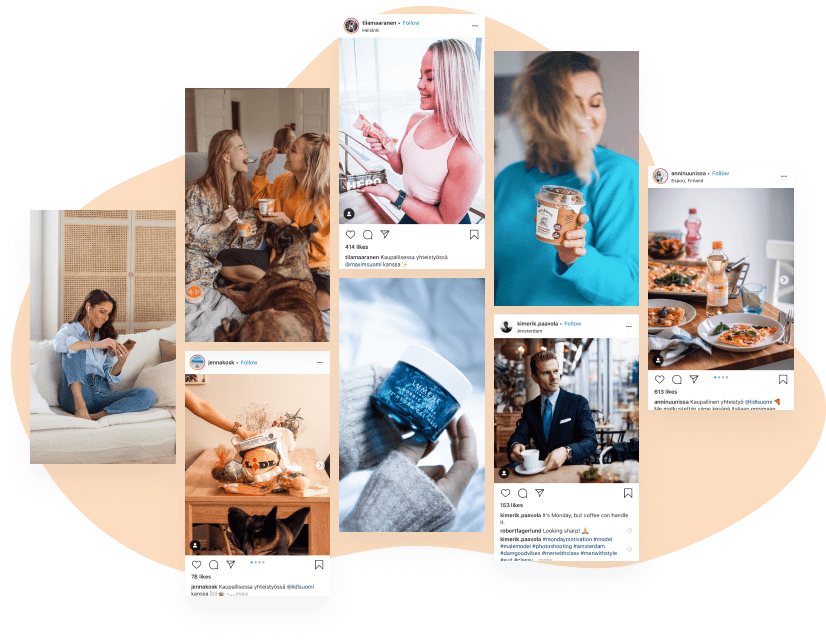 Instagram posts from Boksi influencer campaigns and photos from Boksi content campaigns
